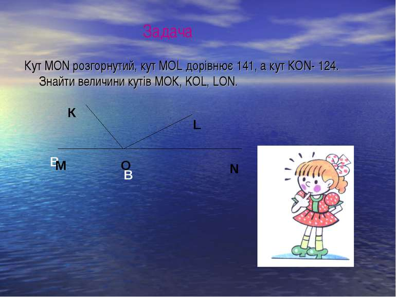 Кут МОN розгорнутий, кут МОL дорівнює 141, а кут КОN- 124. Знайти величини ку...