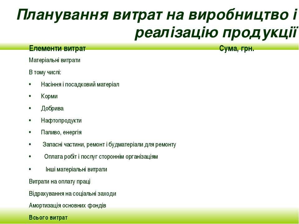 Планування витрат на виробництво і реалізацію продукції