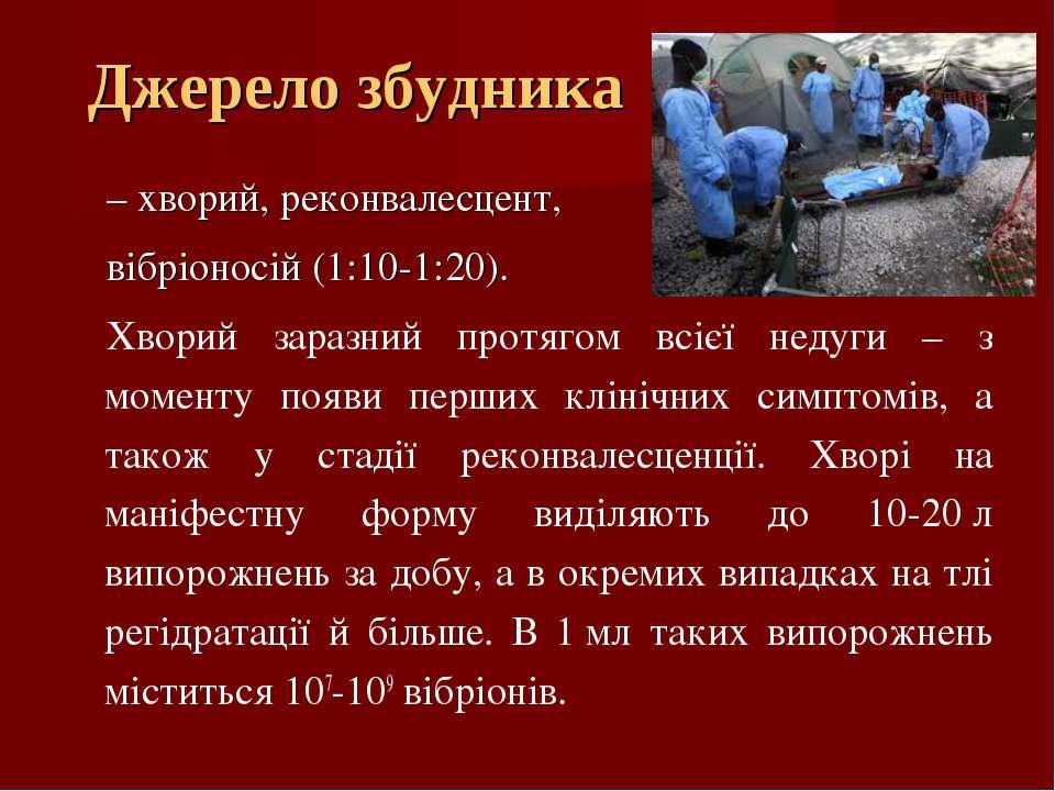 Джерело збудника – хворий, реконвалесцент, вібріоносій (1:10-1:20). Хворий за...