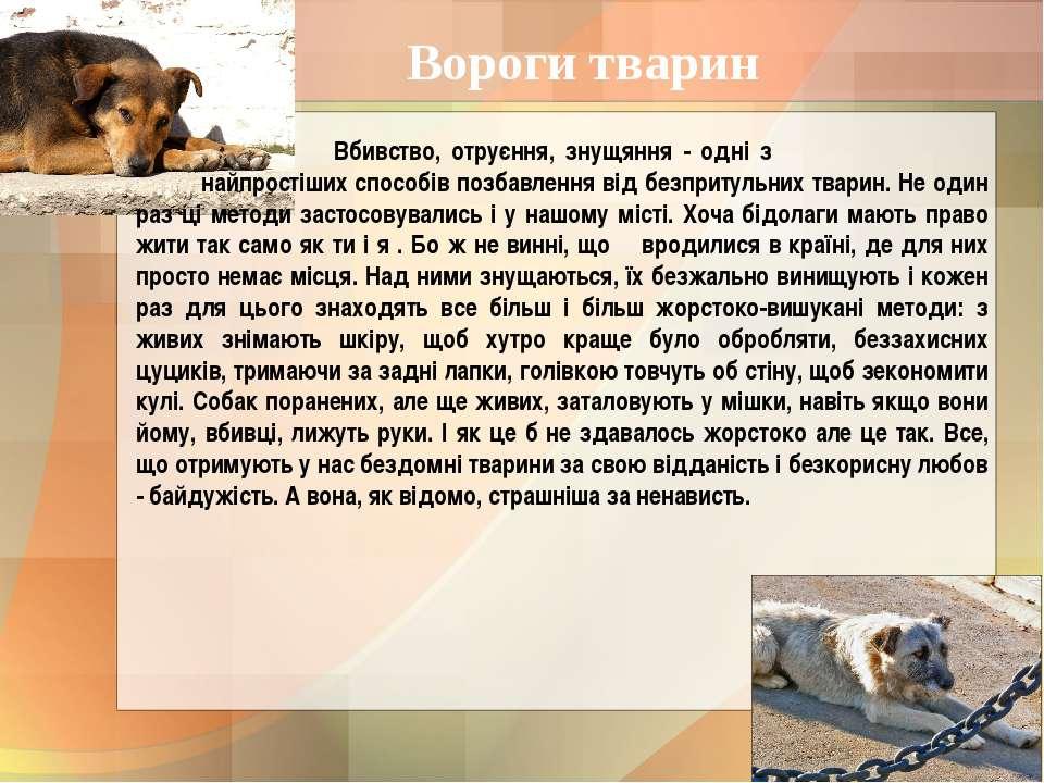 Вороги тварин Вбивство, отруєння, знущяння - одні з найпростіших способів поз...