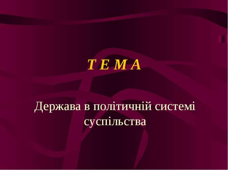 Т Е М А Держава в політичній системі суспільства
