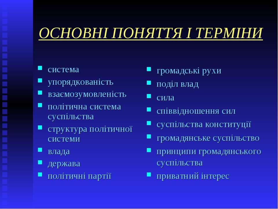 ОСНОВНІ ПОНЯТТЯ І ТЕРМІНИ система упорядкованість взаємозумовленість політичн...