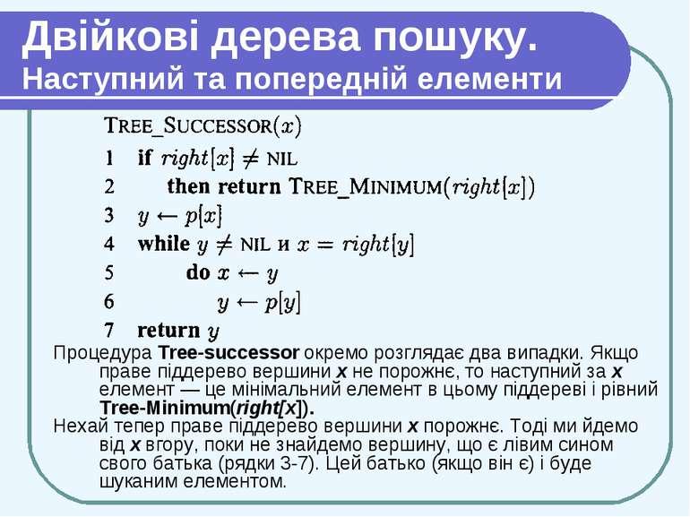 Двійкові дерева пошуку. Наступний та попередній елементи Процедура Tree-succe...