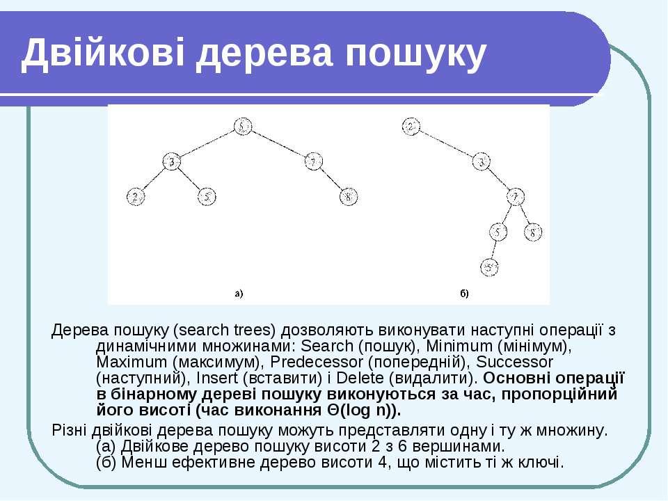 Двійкові дерева пошуку Дерева пошуку (search trees) дозволяють виконувати нас...