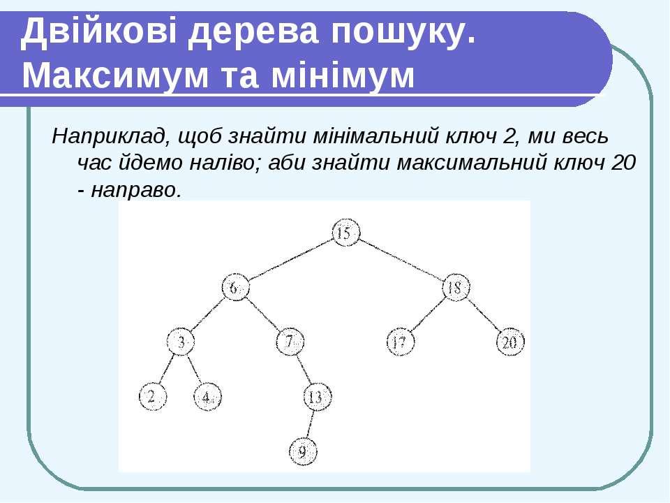 Двійкові дерева пошуку. Максимум та мінімум Наприклад, щоб знайти мінімальний...