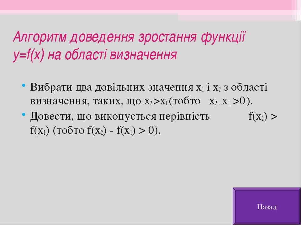 Алгоритм доведення зростання функції y=f(x) на області визначення Вибрати два...