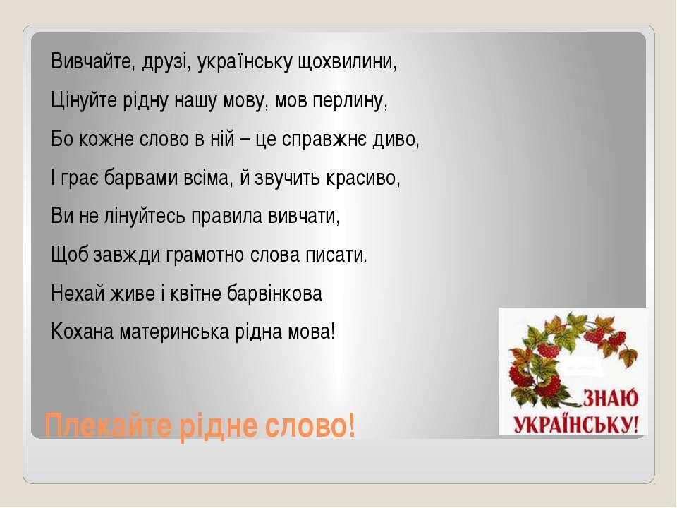 Плекайте рідне слово! Вивчайте, друзі, українську щохвилини, Цінуйте рідну на...
