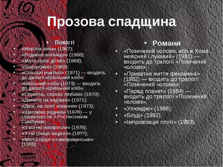 Прозова спадщина Повісті «Мертва зона» (1967); «Родинне вогнище» (1968); «Мат...