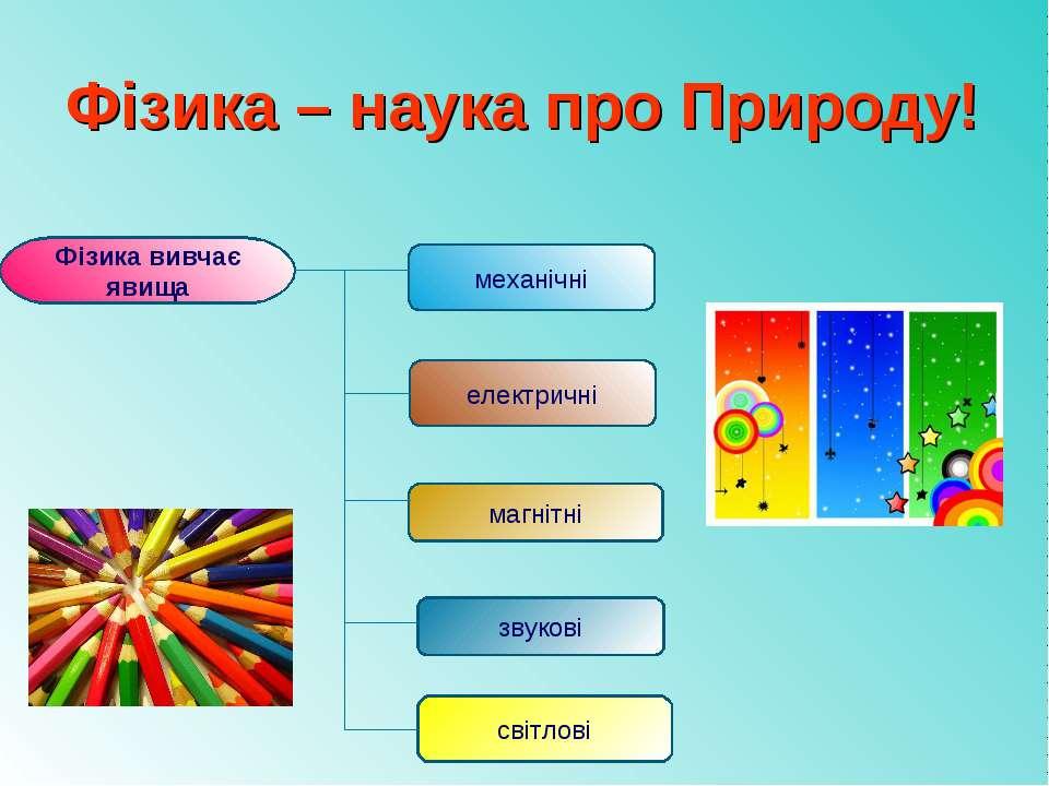 Фізика – наука про Природу! Фізика вивчає явища механічні електричні магнітні...