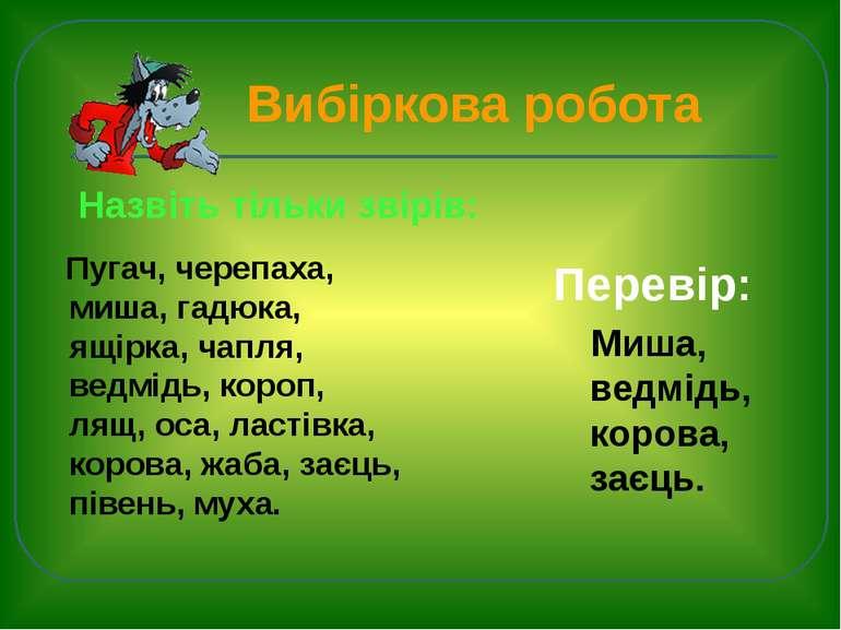 Вибіркова робота Пугач, черепаха, миша, гадюка, ящірка, чапля, ведмідь, короп...