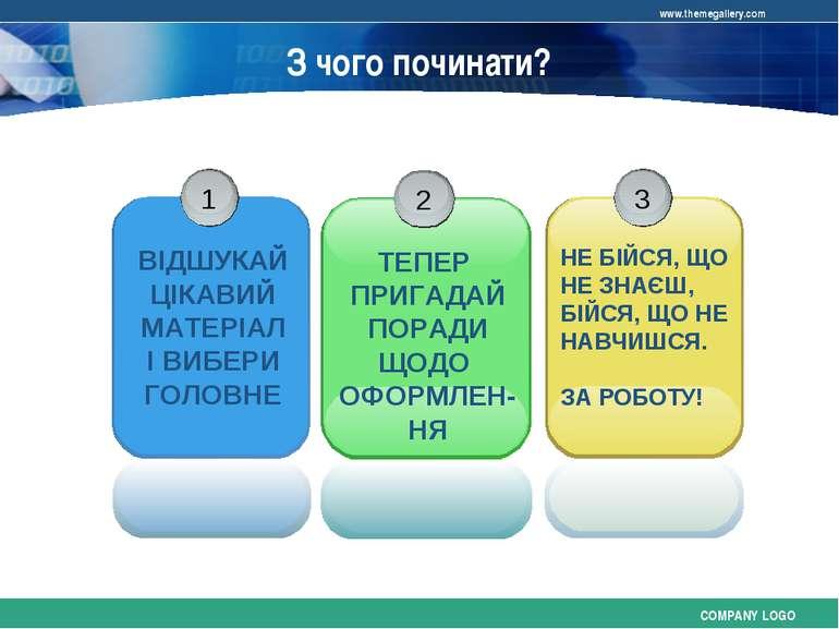 З чого починати? COMPANY LOGO www.themegallery.com
