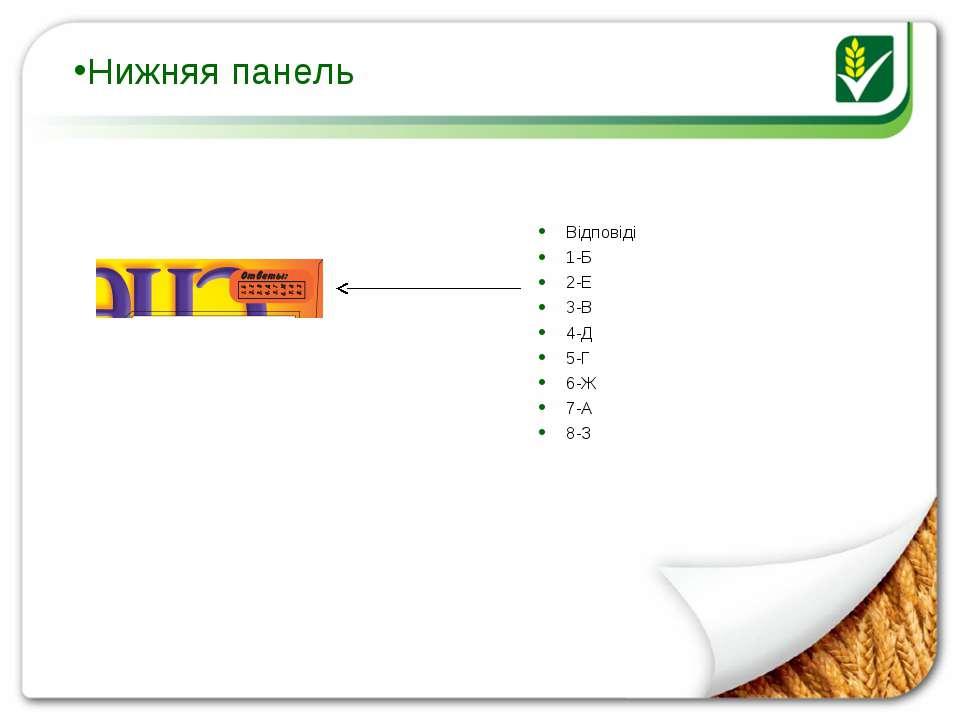 Нижняя панель Відповіді 1-Б 2-Е 3-В 4-Д 5-Г 6-Ж 7-А 8-З