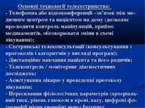 Основні технології телесестринства: - Телефонна або відеоконференції –зв'язок...