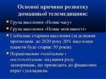 Основні причини розвитку домашньої телемедицини: Група населення «Немає часу»...
