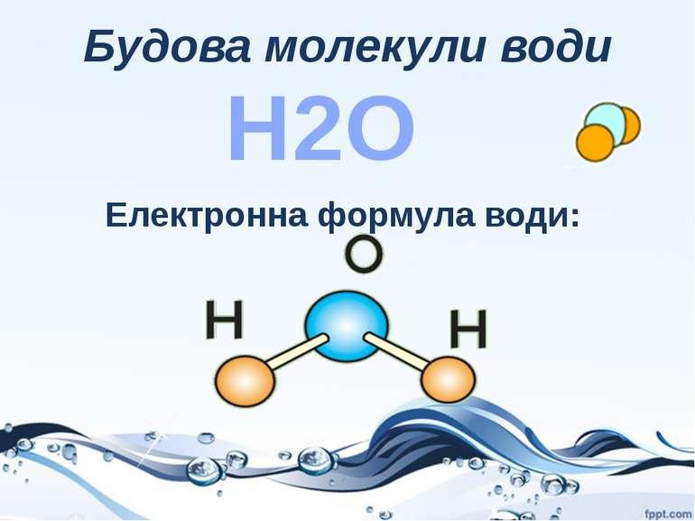 Будова молекули води Н2О Електронна формула води: