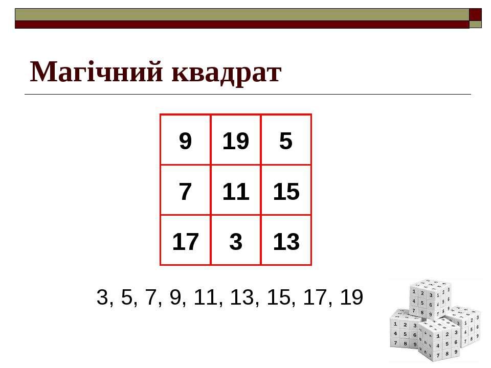 Магічний квадрат 9 19 5 7 11 15 17 3 13 3, 5, 7, 9, 11, 13, 15, 17, 19