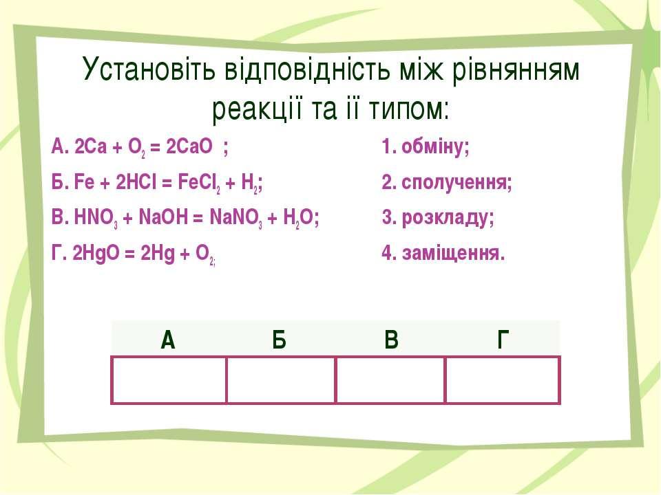 Установіть відповідність між рівнянням реакції та ії типом: А. 2Са + О2 = 2Са...