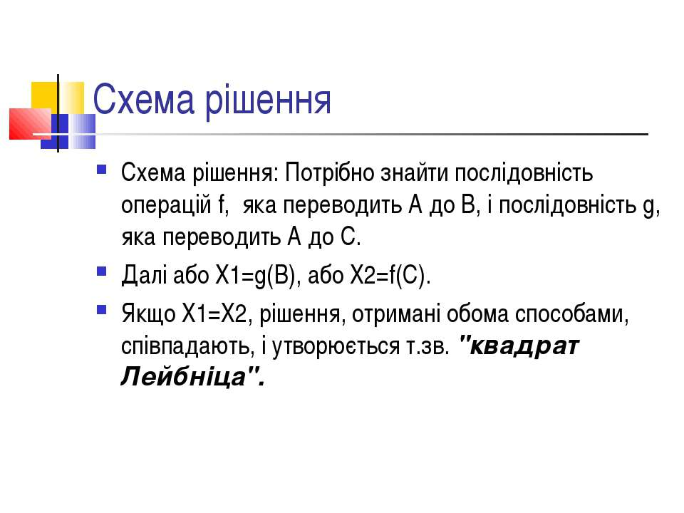 Схема рішення Схема рішення: Потрібно знайти послідовність операцій f, яка пе...