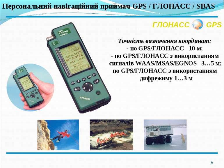 * ГЛОНАСС GPS Персональний навігаційний приймач GPS / ГЛОНАСС / SBAS Точність...