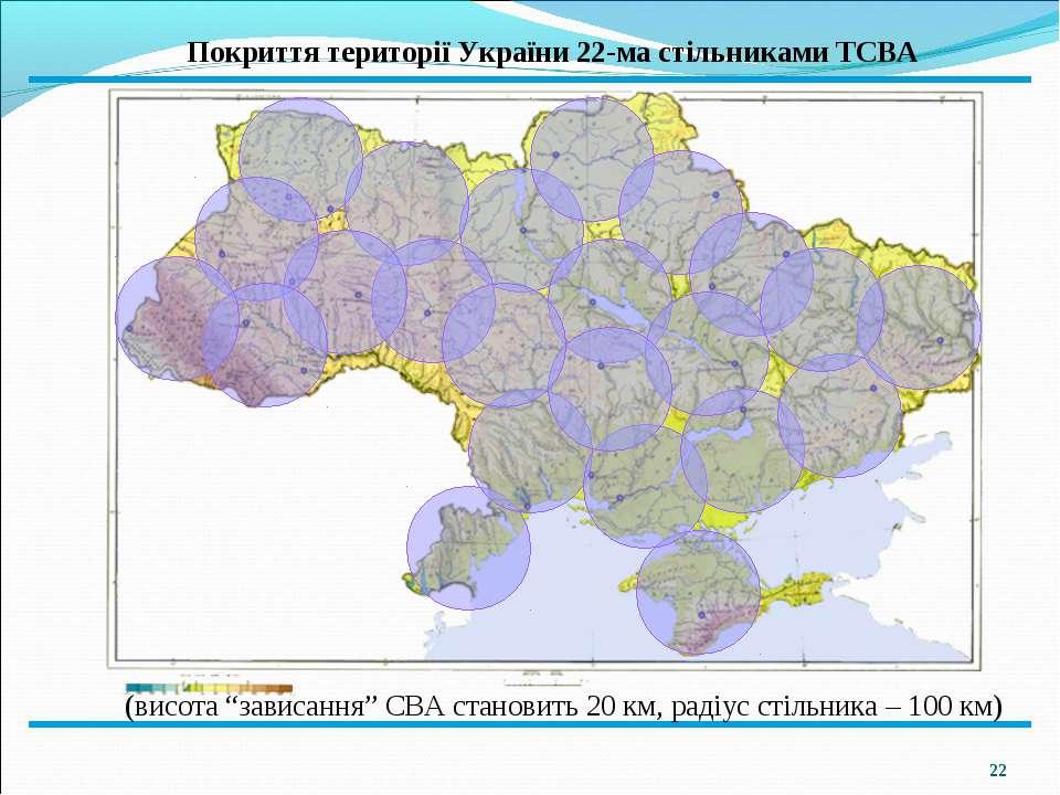 """* Покриття території України 22-ма стільниками ТСВА (висота """"зависання"""" СВА с..."""