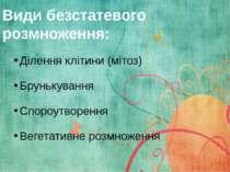 Види безстатевого розмноження: Ділення клітини (мітоз) Брунькування Спороутво...