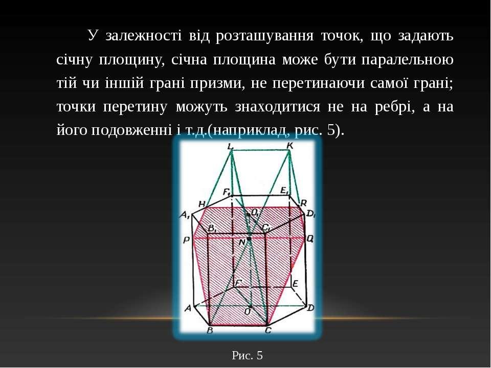 У залежності від розташування точок, що задають січну площину, січна площина ...