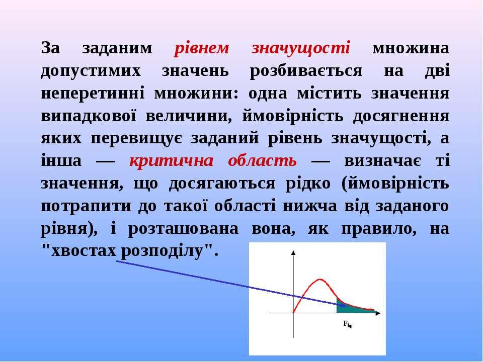 За заданим рівнем значущості множина допустимих значень розбивається на дві н...