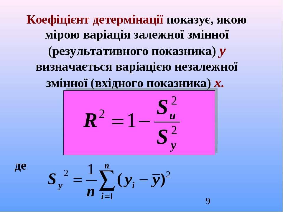 Коефіцієнт детермінації показує, якою мірою варіація залежної змінної (резуль...