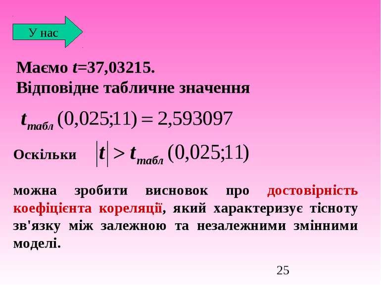 Маємо t=37,03215. Відповідне табличне значення У нас Оскільки можна зробити в...