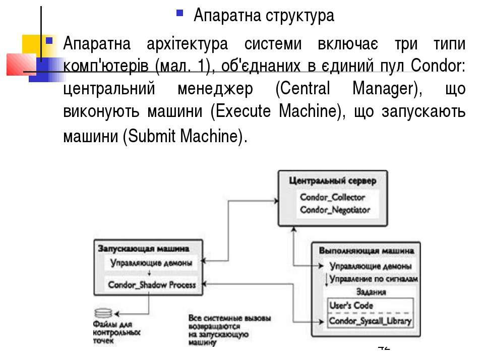 Апаратна структура Апаратна архітектура системи включає три типи комп'ютерів ...