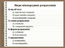 Види міжнародних розрахунків 4) від об'єкту: а) торговельні операції; б) інве...