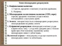 Типи міжнародних розрахунків 1. Національною валютою: А.Торгові, кредитні і п...