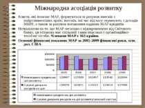Міжнародна асоціація розвитку Кошти, які позичає МАР, формуються за рахунок в...