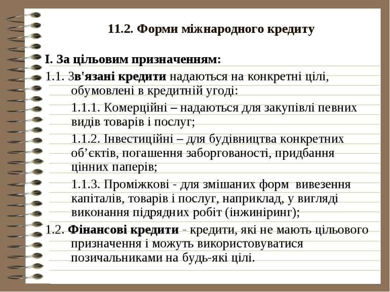 11.2. Форми міжнародного кредиту І. За цільовим призначенням: 1.1. Зв'язані к...