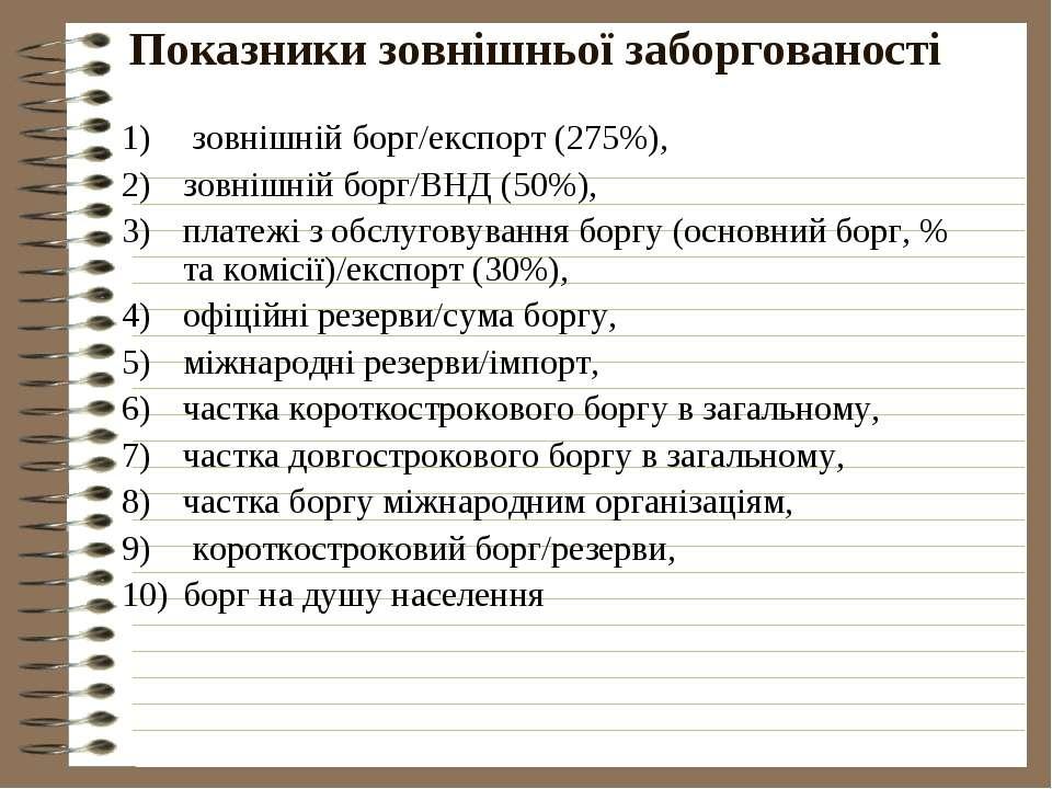 Показники зовнішньої заборгованості зовнішній борг/експорт (275%), зовнішній ...