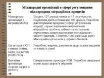 Міжнародні організації в сфері регулювання міжнародних міграційних процесів М...