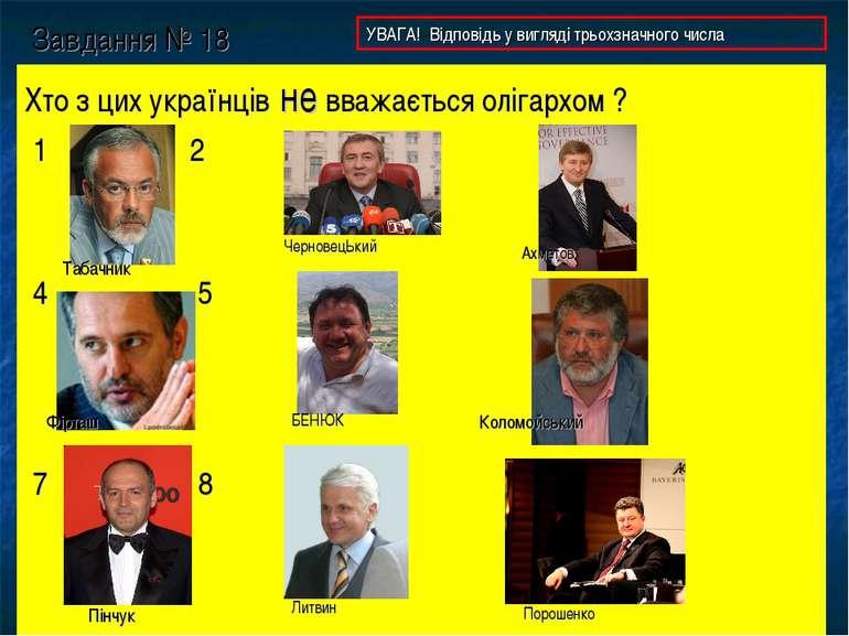Завдання № 18 Хто з цих українців не вважається олігархом ? 1 2 3 4 5 6 7 8 9...