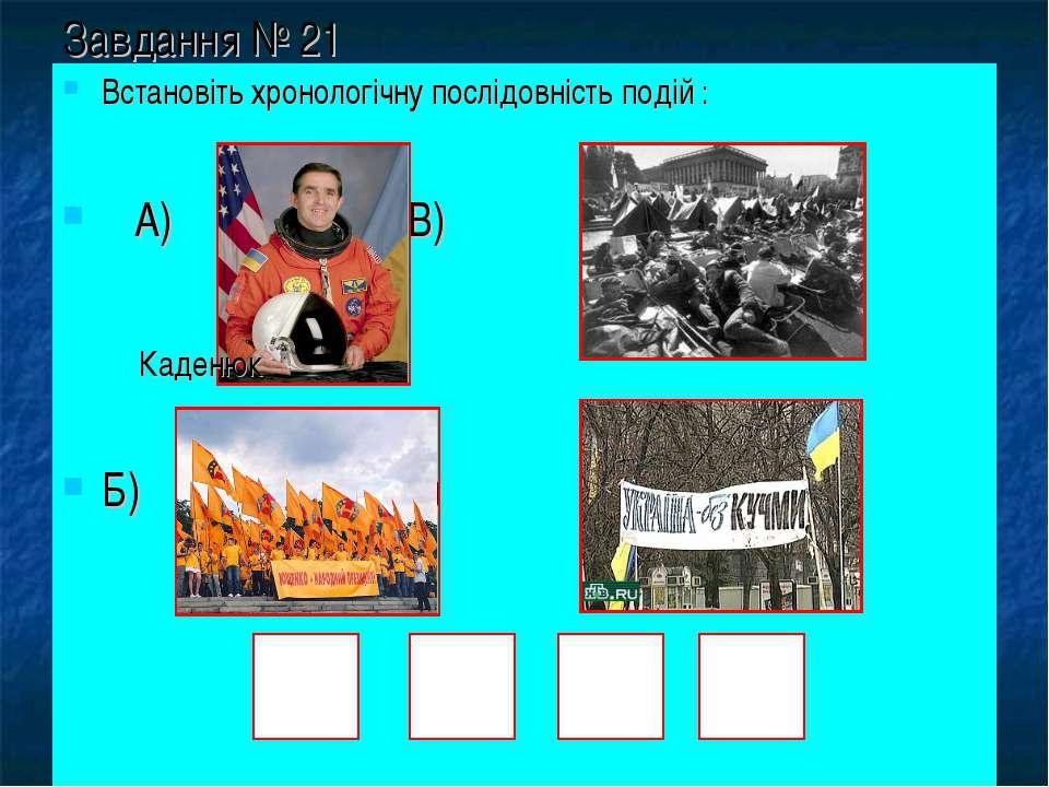 Завдання № 21 Встановіть хронологічну послідовність подій : А) В) Б) Г) Каденюк
