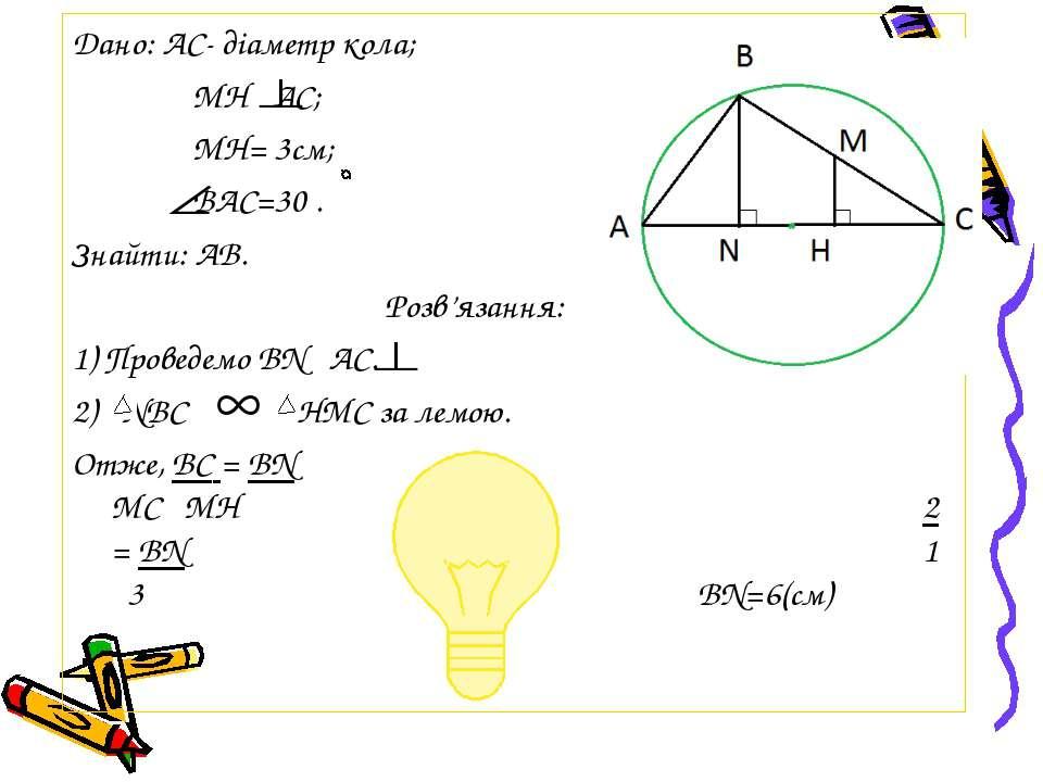 Дано: АС- діаметр кола; МH AC; МН= 3см; ВАС=30 . Знайти: АВ. Розв'язання: 1) ...