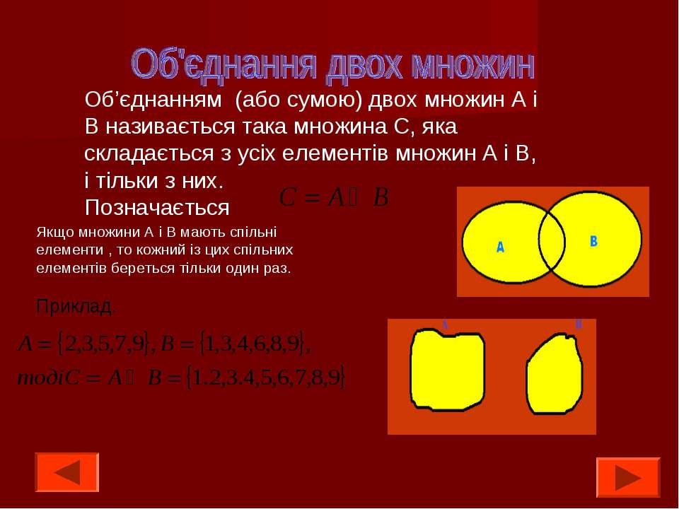 Об'єднанням (або сумою) двох множин А і В називається така множина С, яка скл...