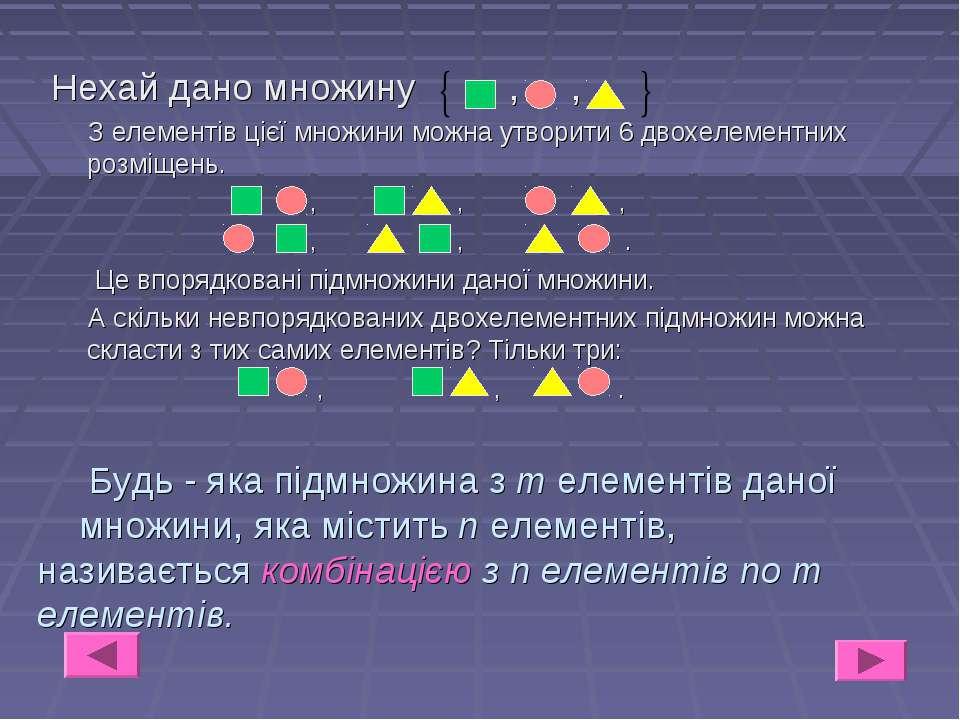 Будь - яка підмножина з т елементів даної множини, яка містить n елементів, н...