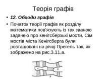 Теорія графів 12. Обходи графів Початок теорії графів як розділу математики п...