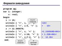 Формати виведення program qq; var i: integer; x: real; begin i := 15; writeln...