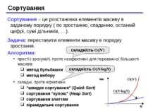 Сортування Сортування – це розстановка елементів масиву в заданому порядку ( ...
