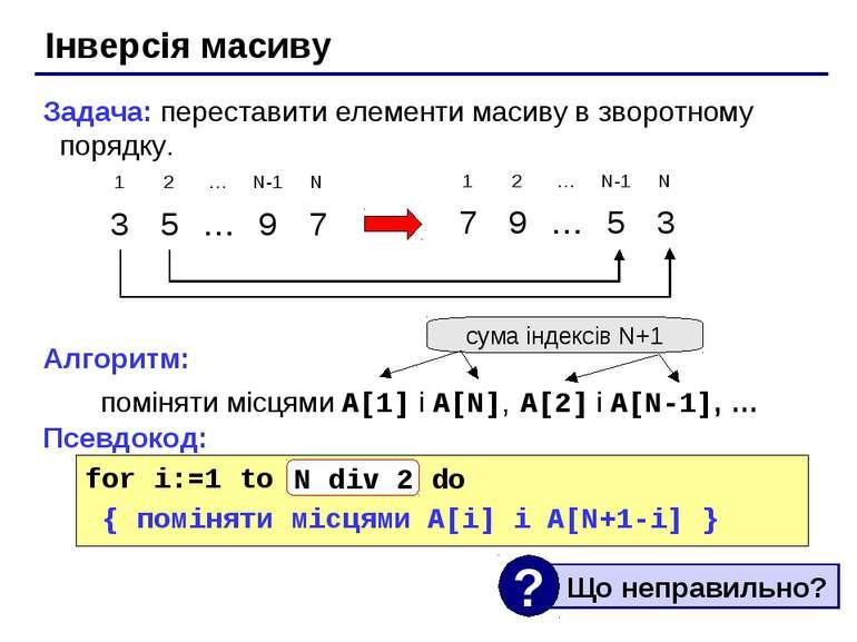 Інверсія масиву Задача: переставити елементи масиву в зворотному порядку. Алг...