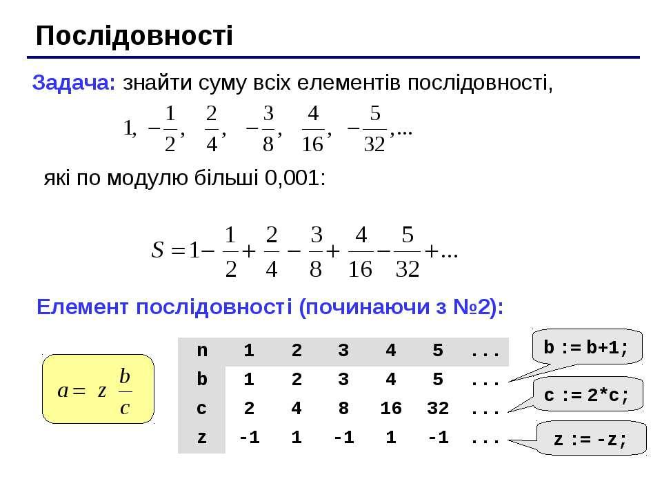 Послідовності Задача: знайти суму всіх елементів послідовності, які по модулю...
