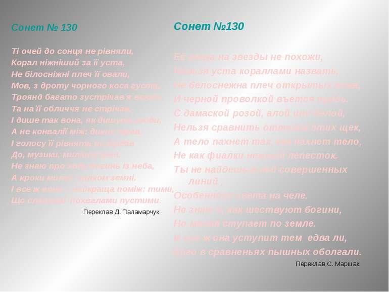 Сонет № 130 Ті очей до сонця не рівняли, Корал ніжніший за її уста, Не білосн...