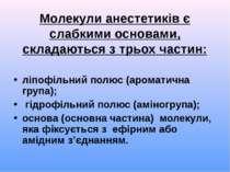 Молекули анестетиків є слабкими основами, складаються з трьох частин: ліпофіл...