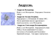 Андрусяк. Андрусяк Володимир. Живе у селі Молодятин . Народився 16жовтня 1962...