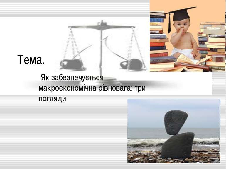 Тема. Як забезпечується макроекономічна рівновага: три погляди